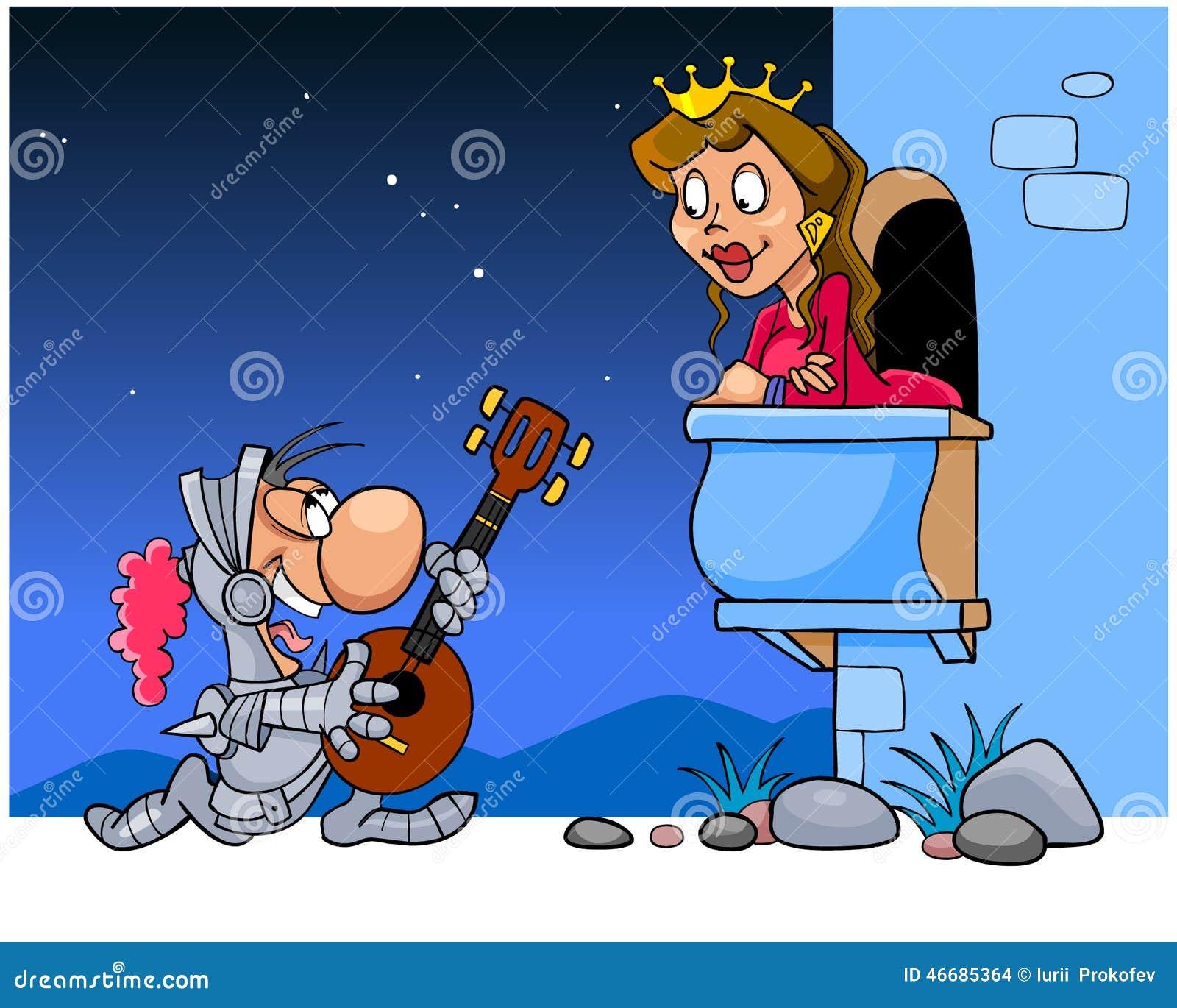 Knight sings a serenade under the balcony stock vector for Balcony cartoon
