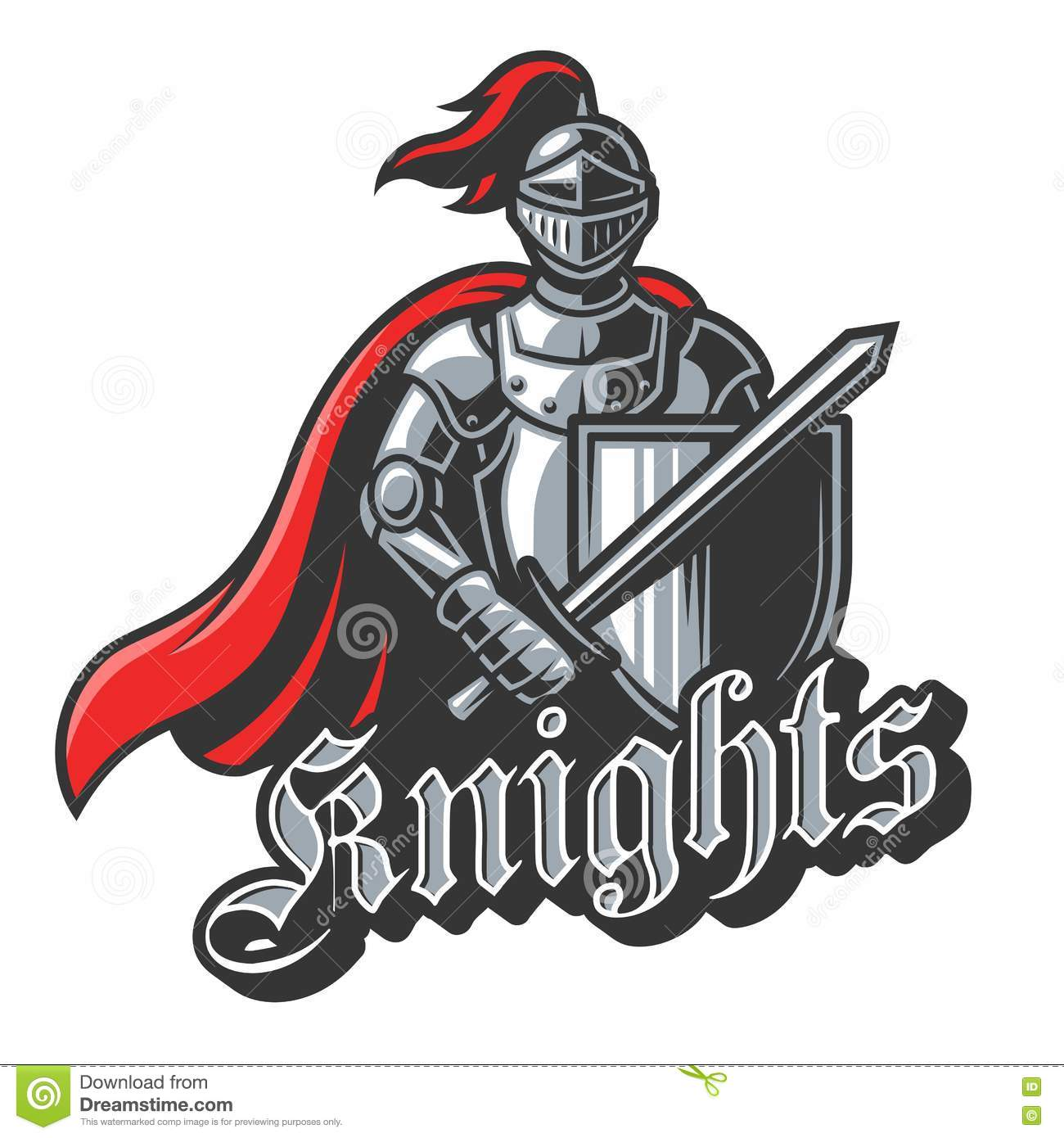 knight sport logo in color stock vector illustration of