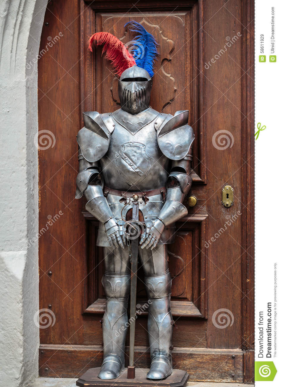 a knight standing guard editorial stock image image of entrance