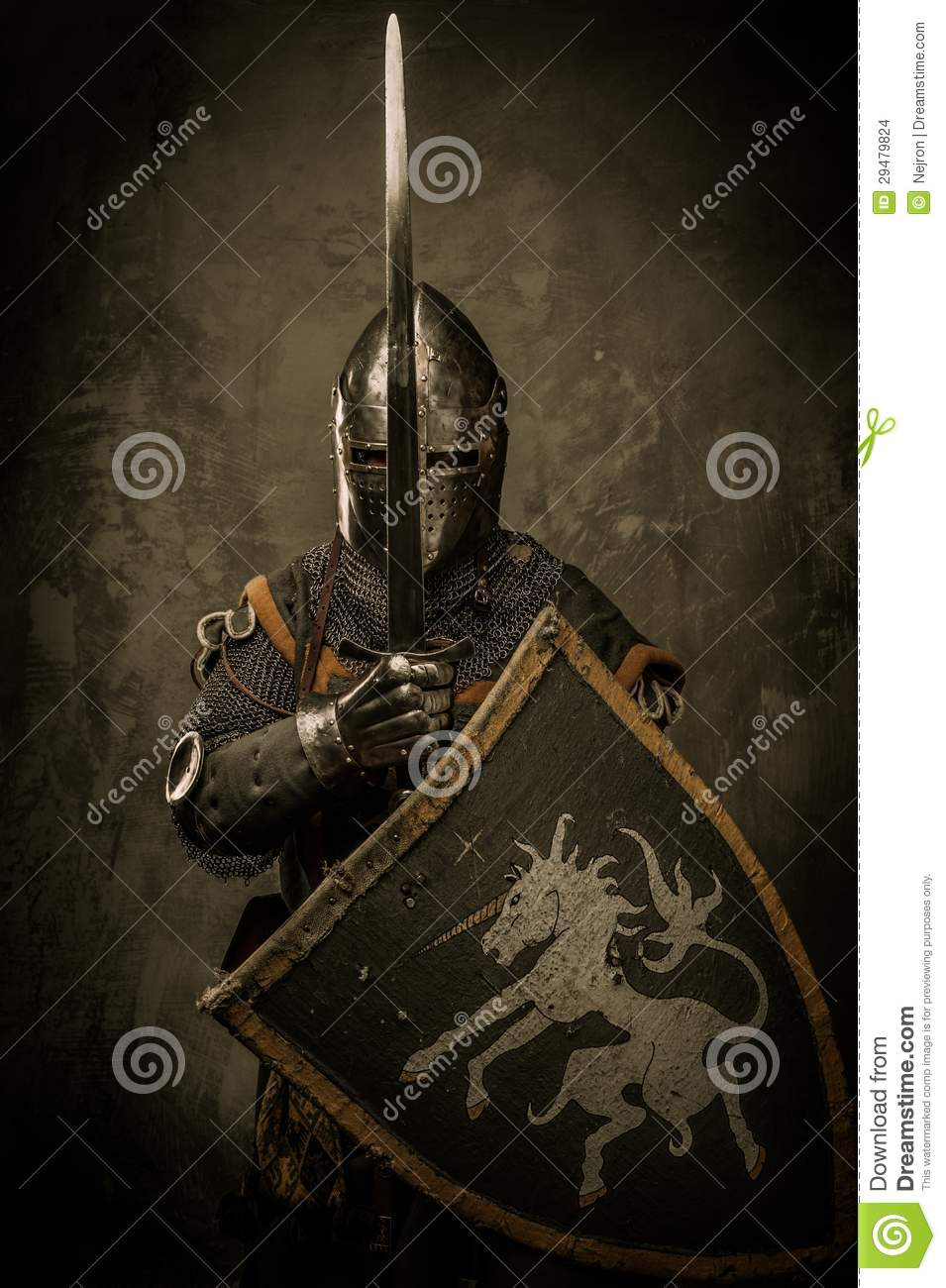 Knight With Sword And Shield Stock Photo - Image: 29479824