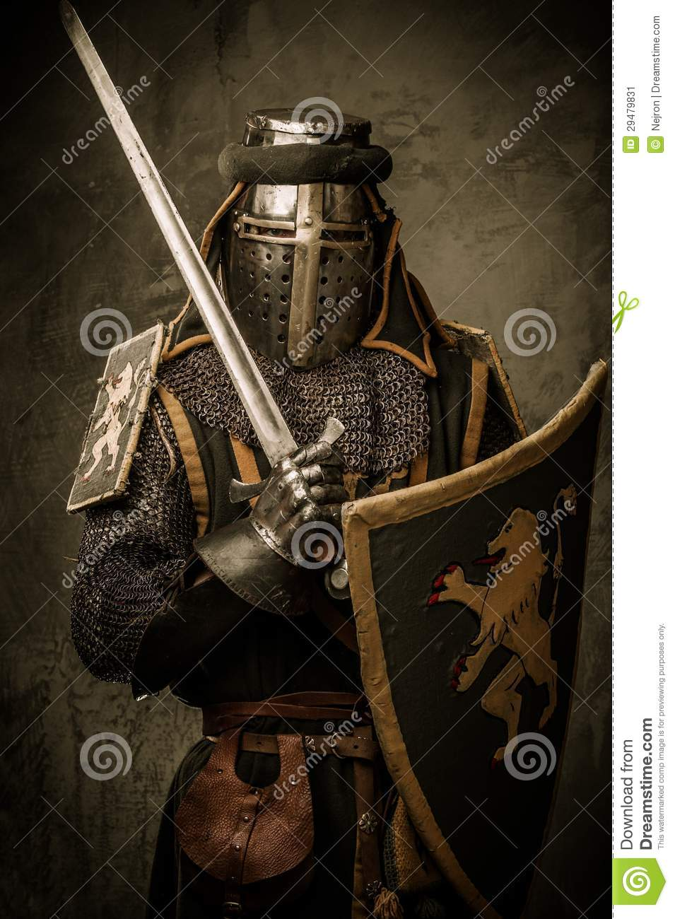 Knight With Sword And Shield Stock Image - Image: 29479831