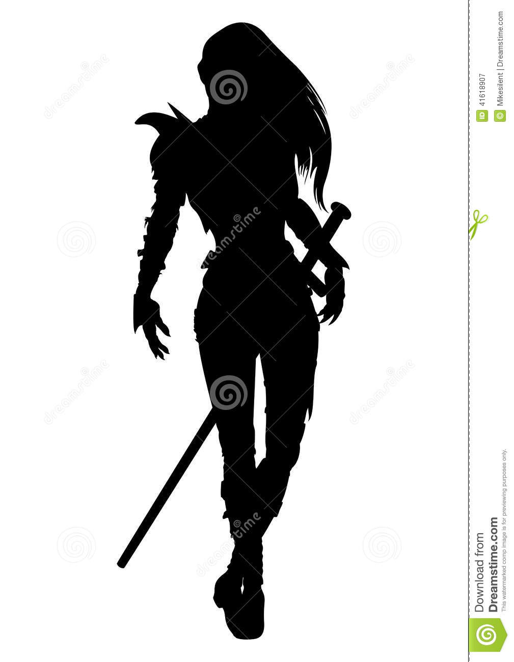 Knight Woman Silhouette Stock Vector Image 41618907