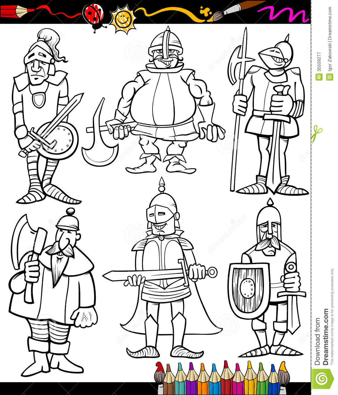 Knights Cartoon Set For Coloring Book Stock Vector ...