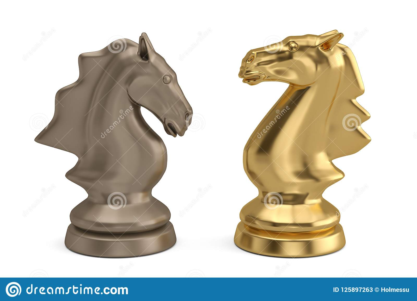 Knights chess piece on white background.3D illustration.