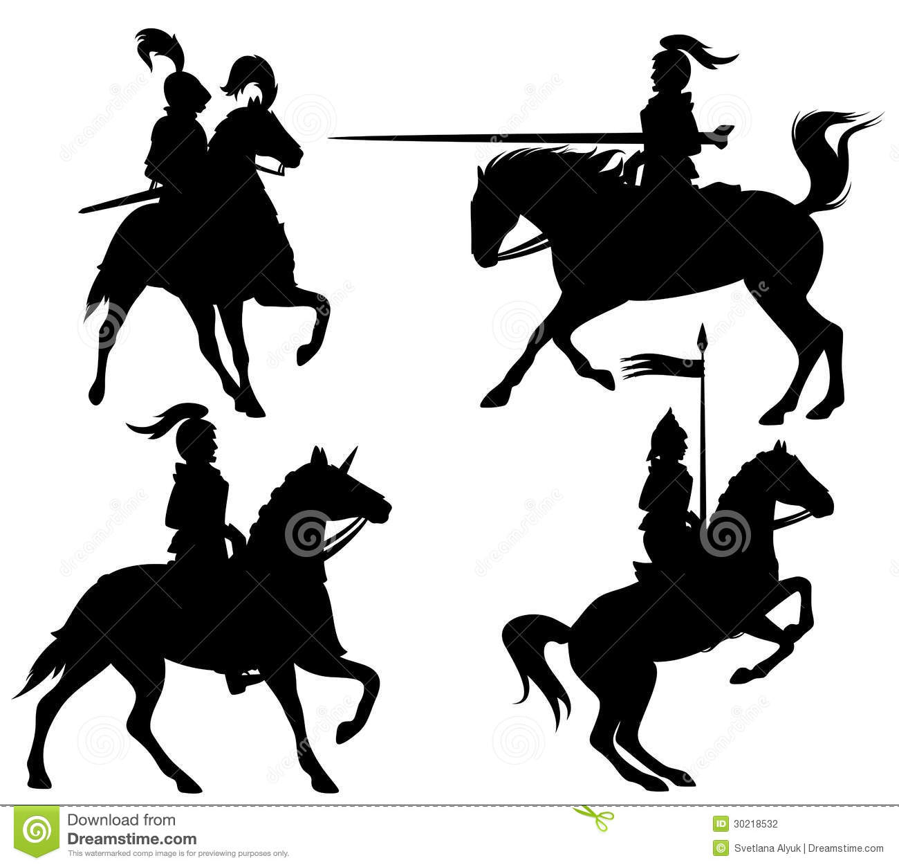 Knights and horses fine silhouettes - black outlines over white.