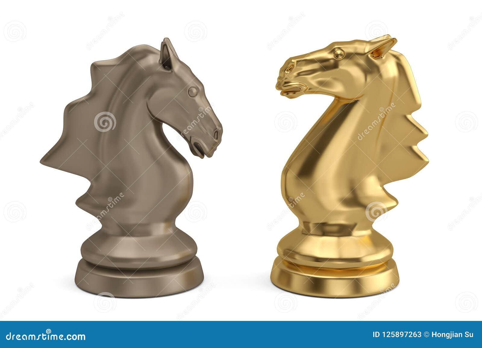 Knights a parte de xadrez no fundo branco ilustração 3D