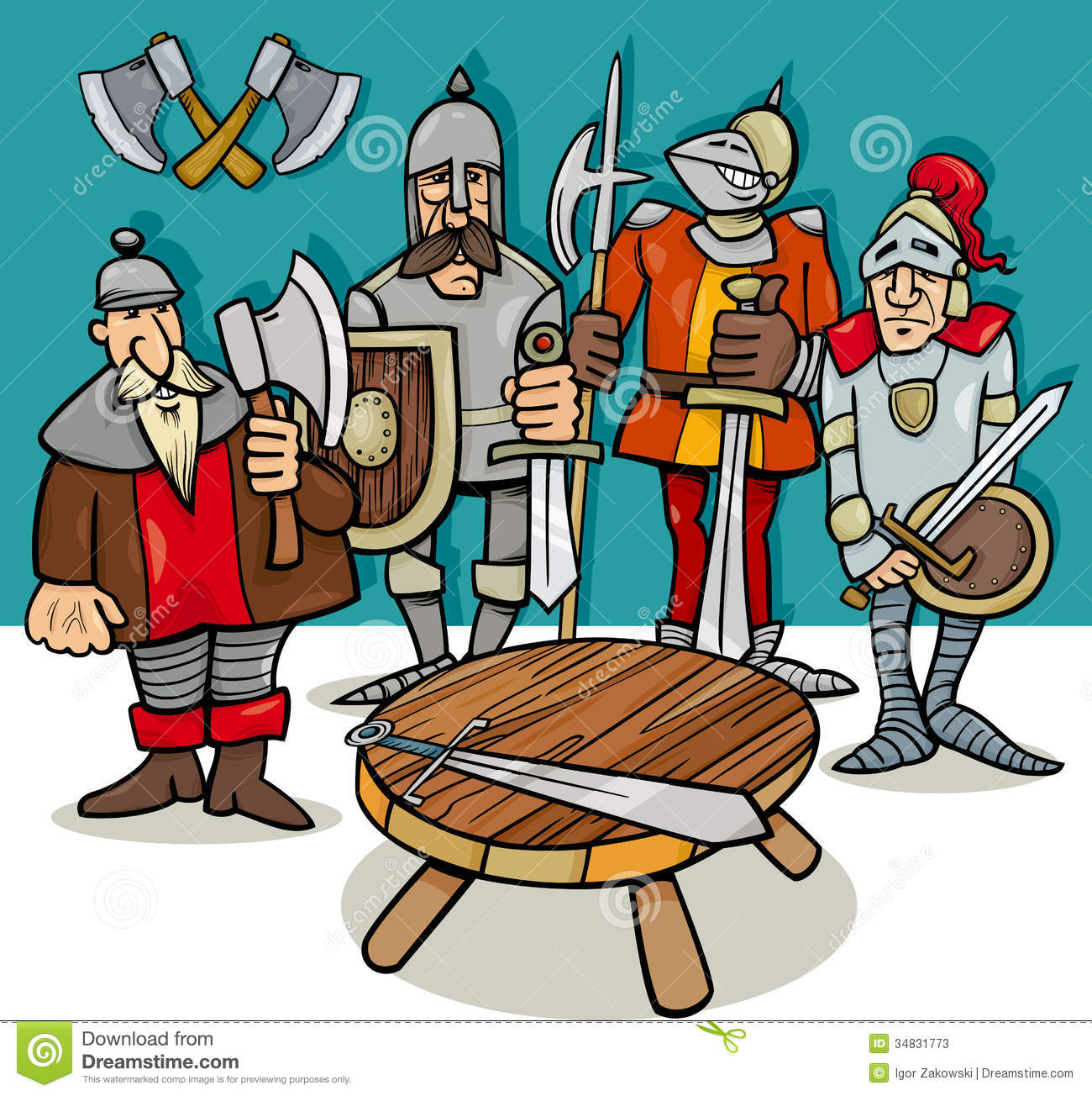 Knights Of The Round Table Cartoon Stock Photos - Image: 34831773