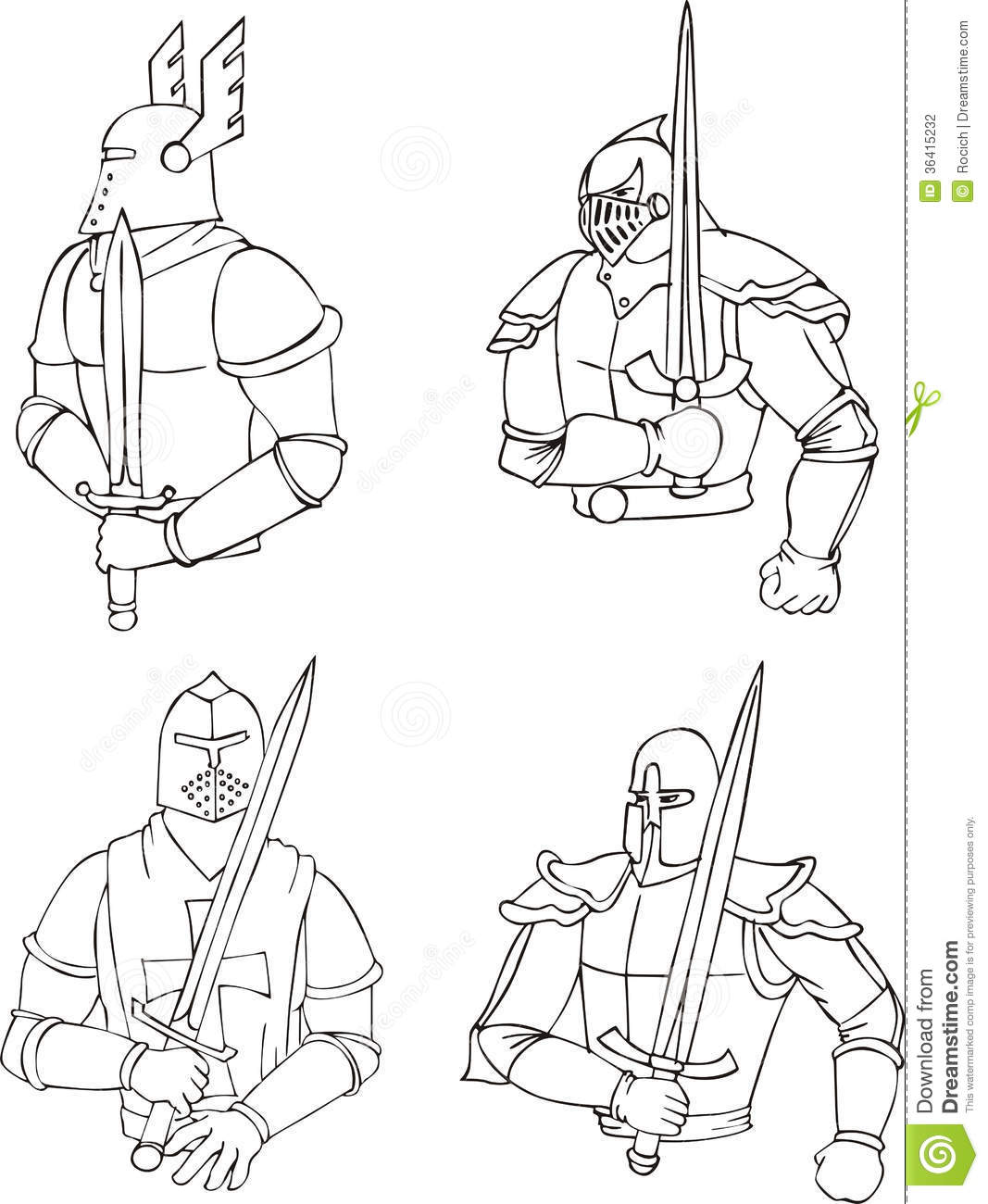 Free Coloring Pages Of Knights Swords