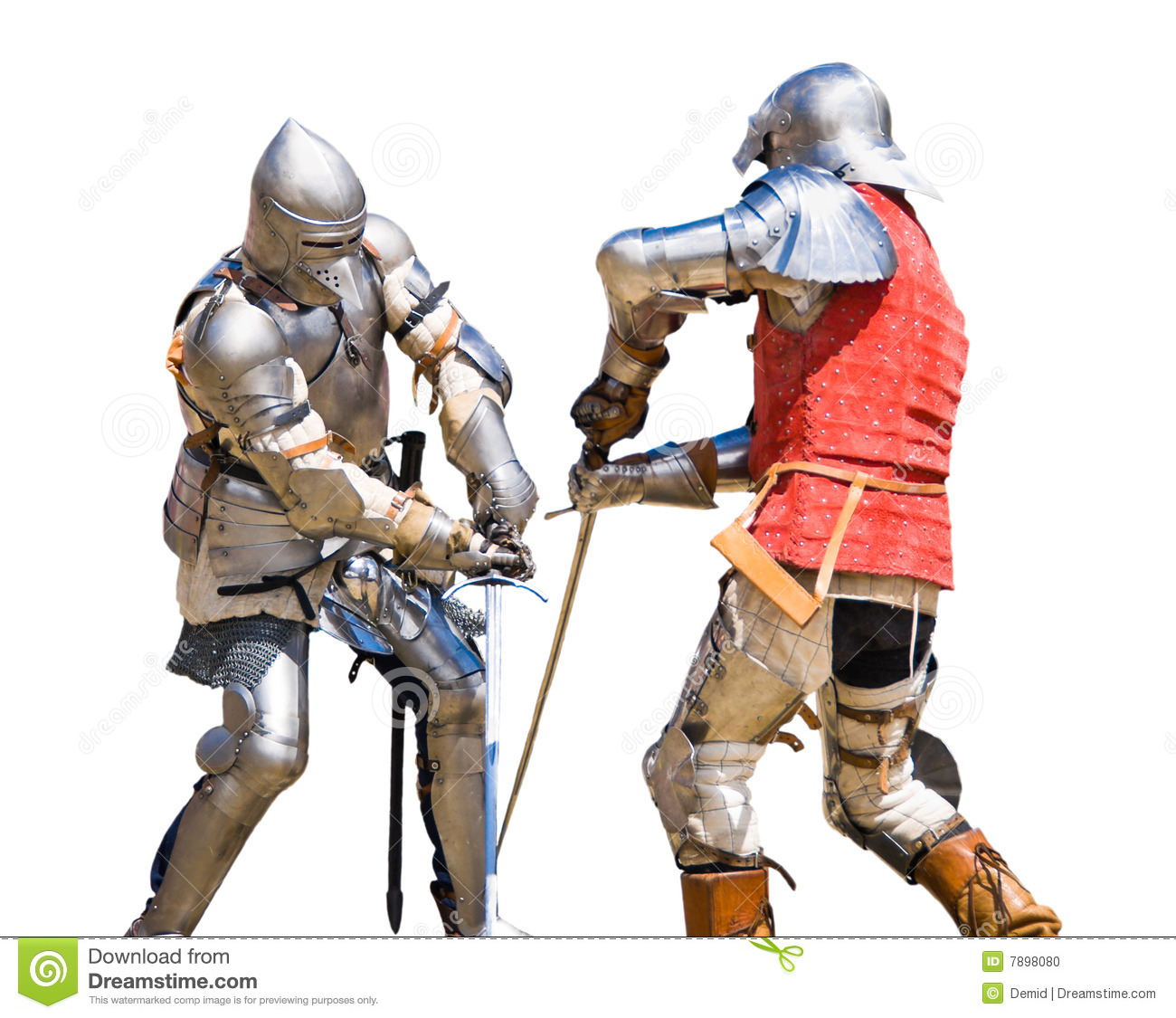 Two knights competing in a tournament. White background.