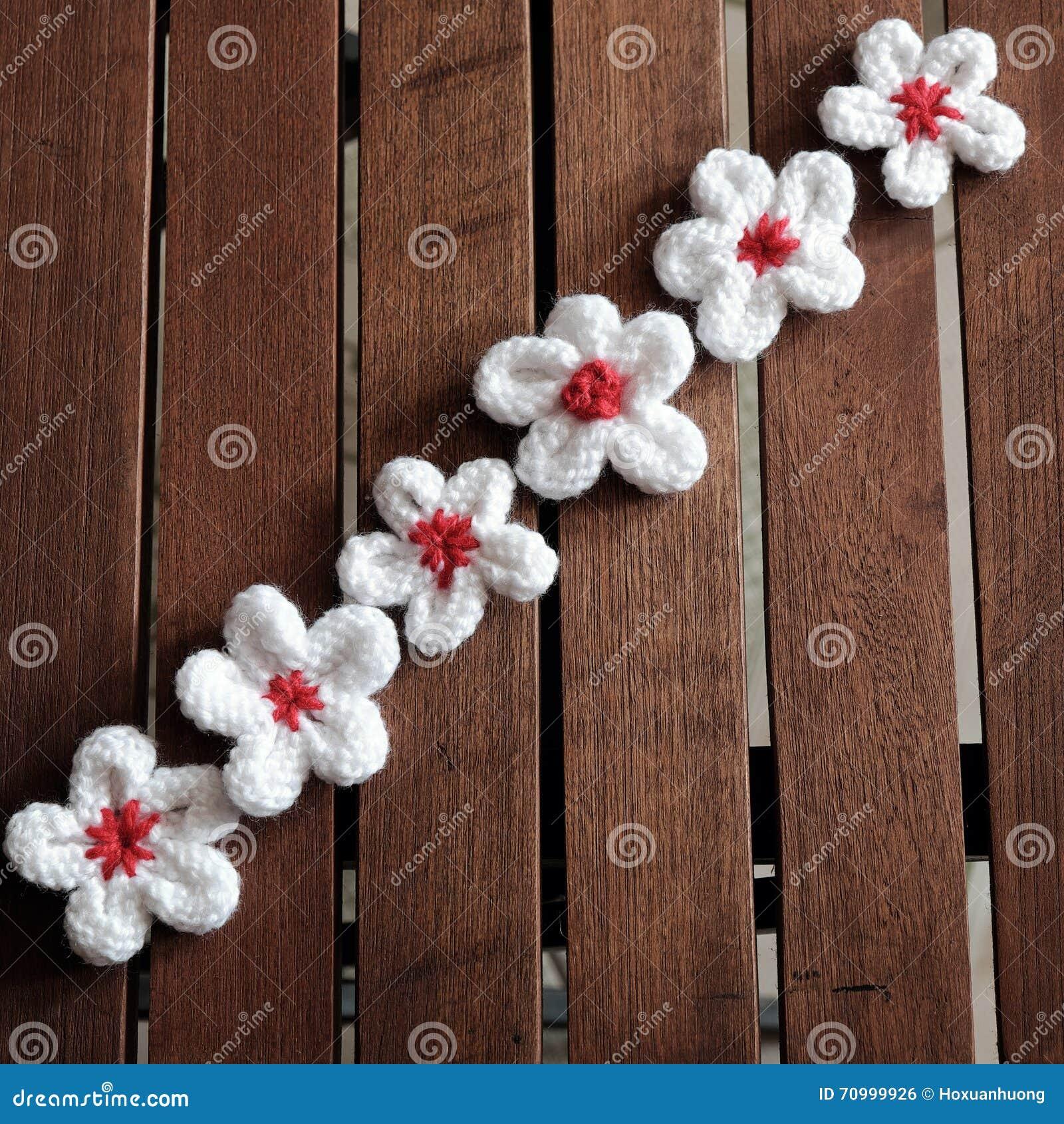 Knit Daisy Flower On Wood Background Stock Photo Image Of Flowers