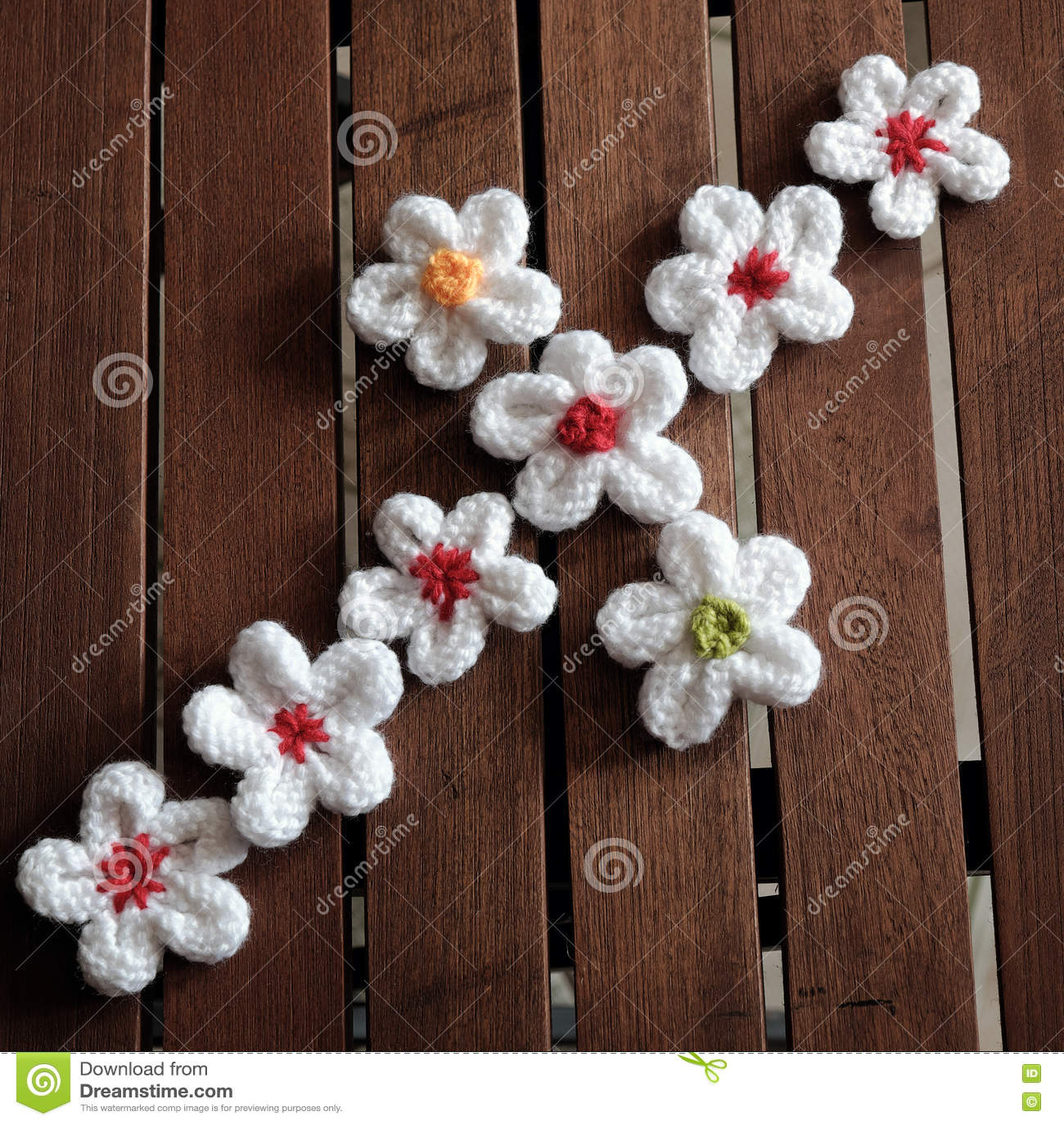 Knit Daisy Flower On Wood Background Stock Image Image Of