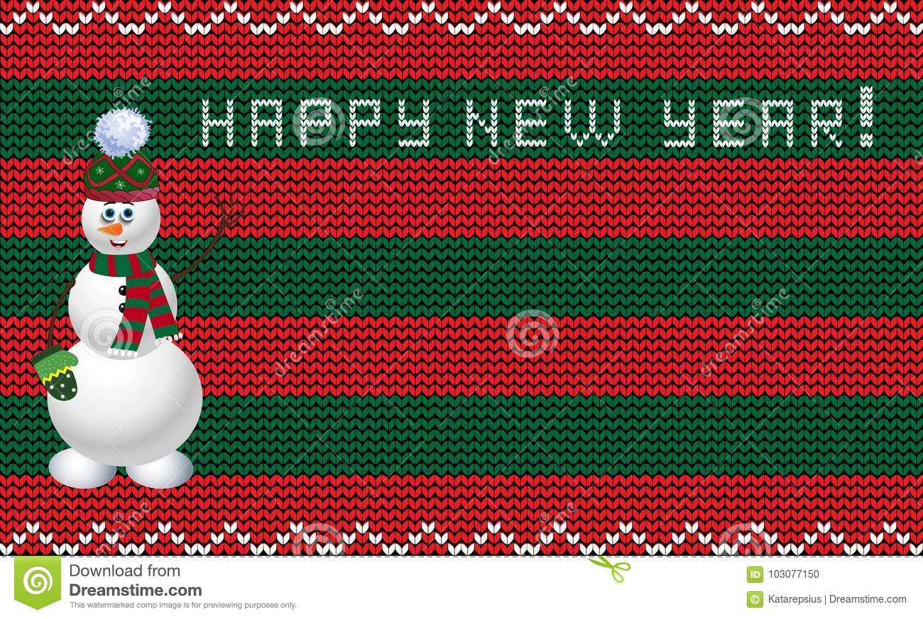 download knit new year template with snowman xmas striped red and green background stock vector