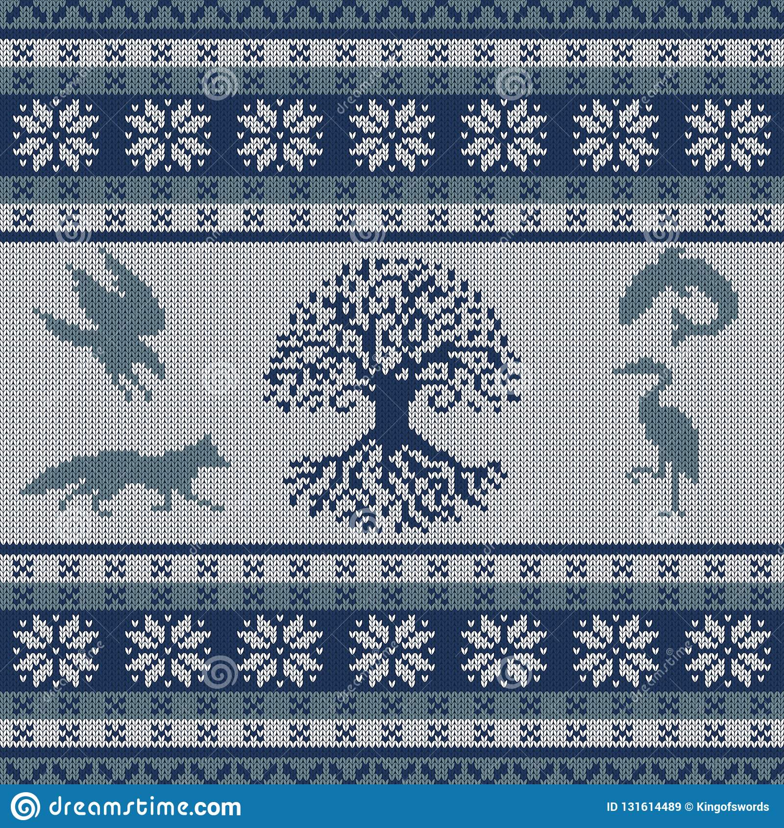 Knit Seamless Woolen Ornament With Celtic Totem Animals And The Tree