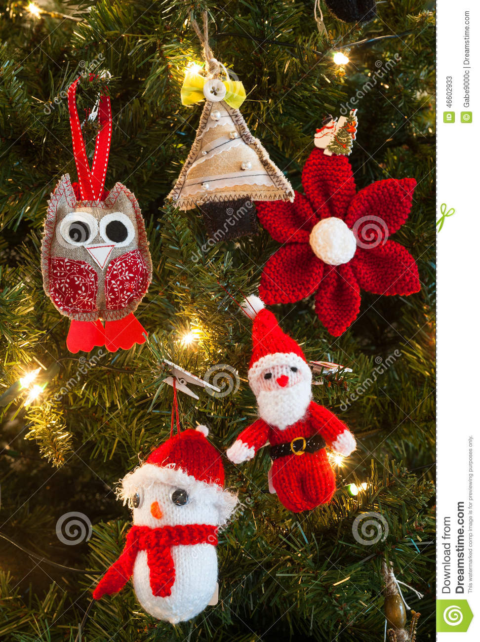 Knitted Christmas Tree Decorations Stock Image - Image of texture ...