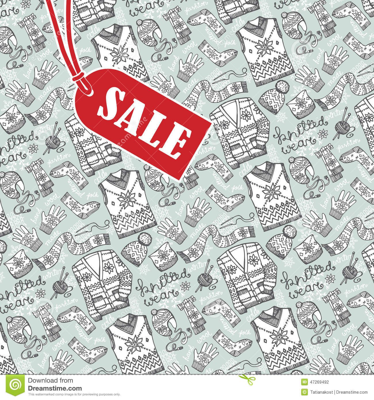 knitted clothing backgroundsale design template stock