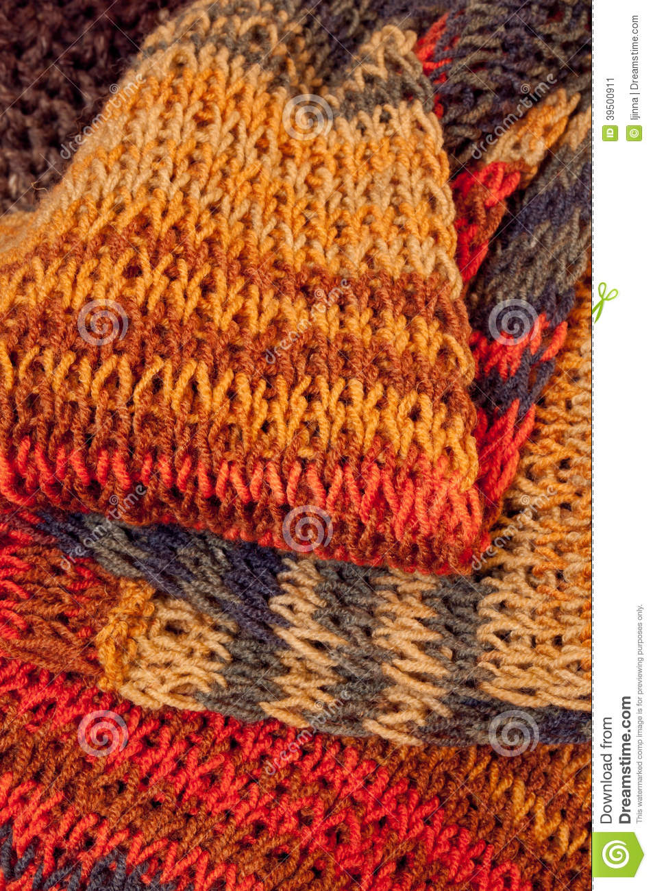 Knitted colorful wintry scarf