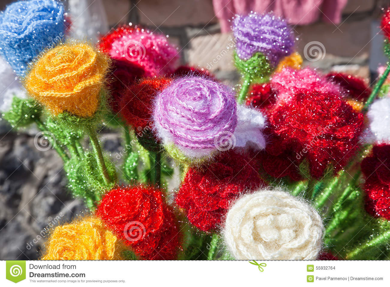 Knitted Flower Stock Photo - Image: 55932764