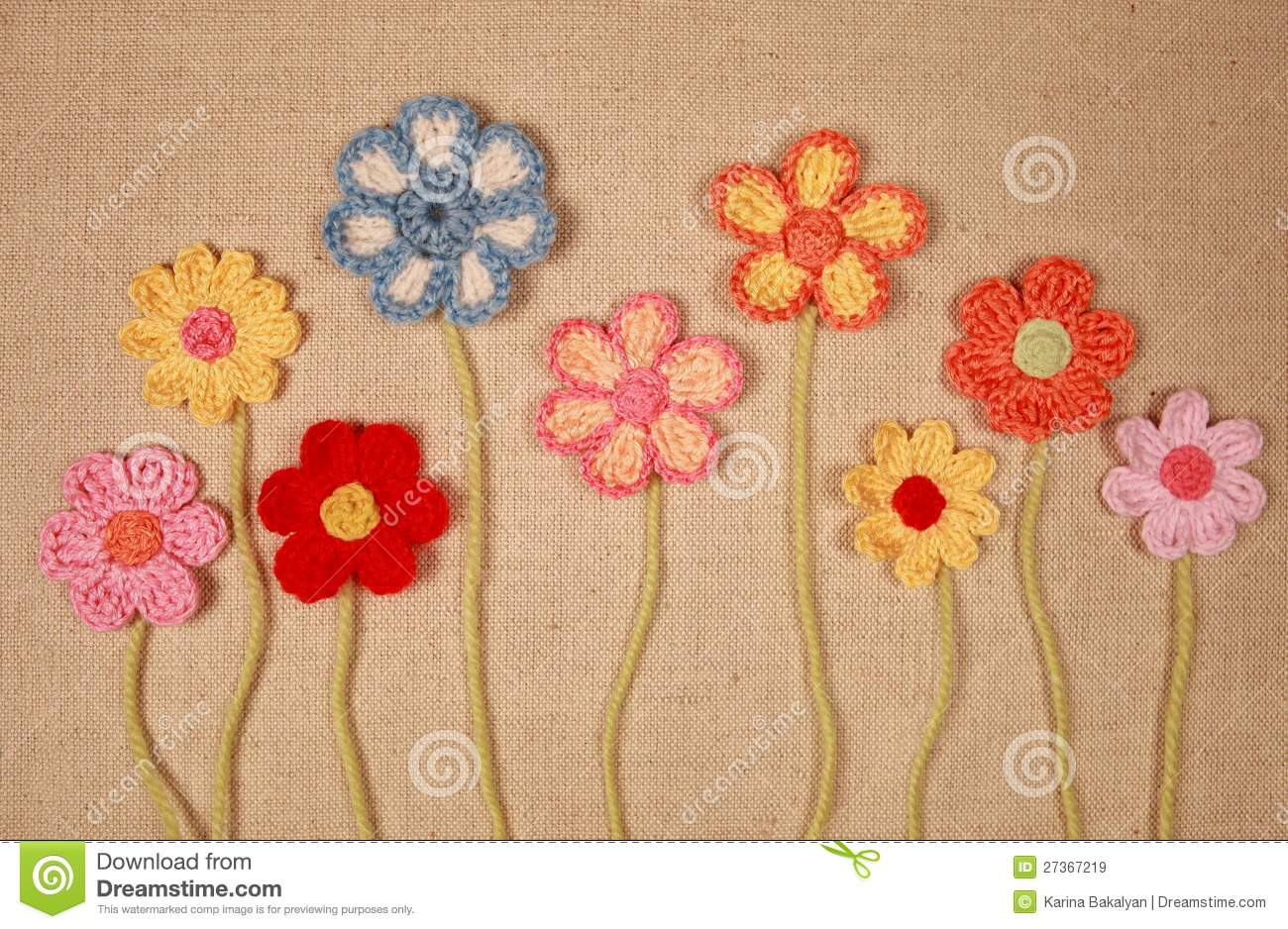 Knitted flowers stock image. Image of nobody, object - 27367219