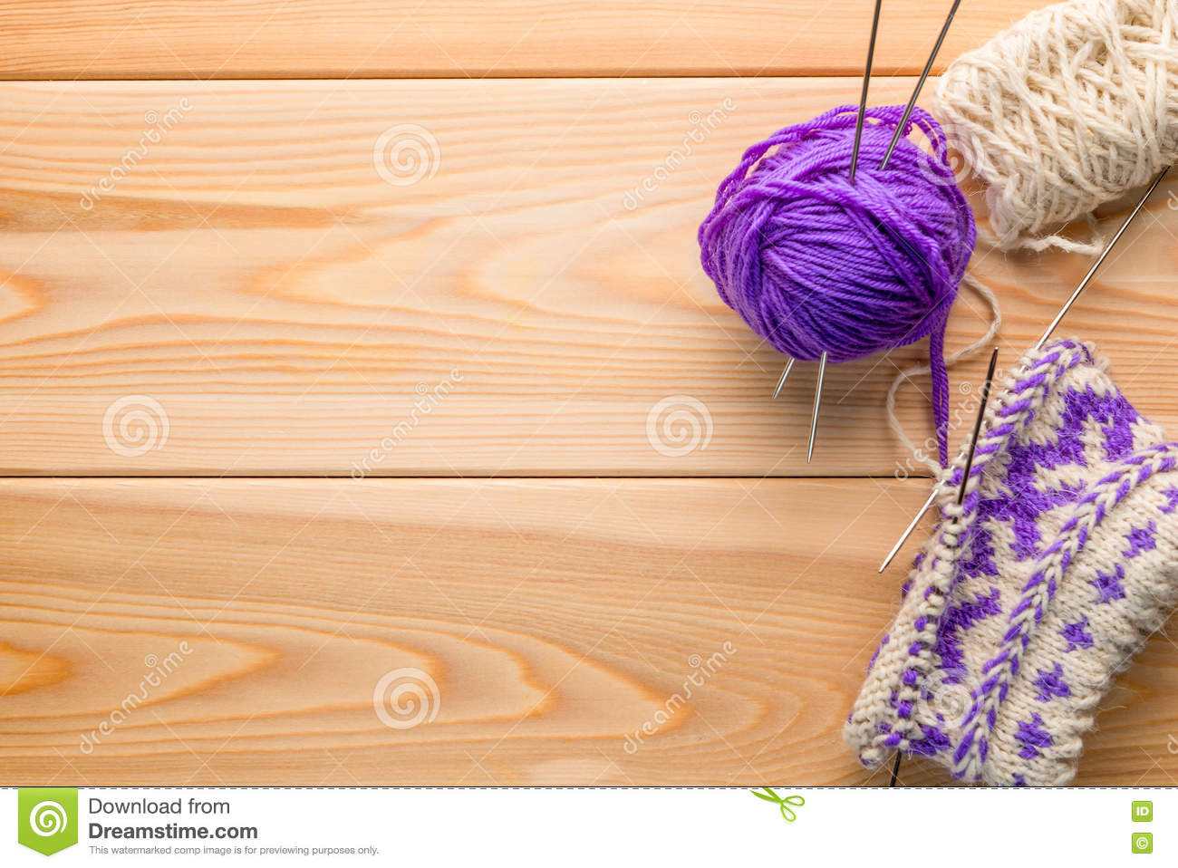 Knitted Handicrafts And Woolen Thread And Space Stock Photo Image