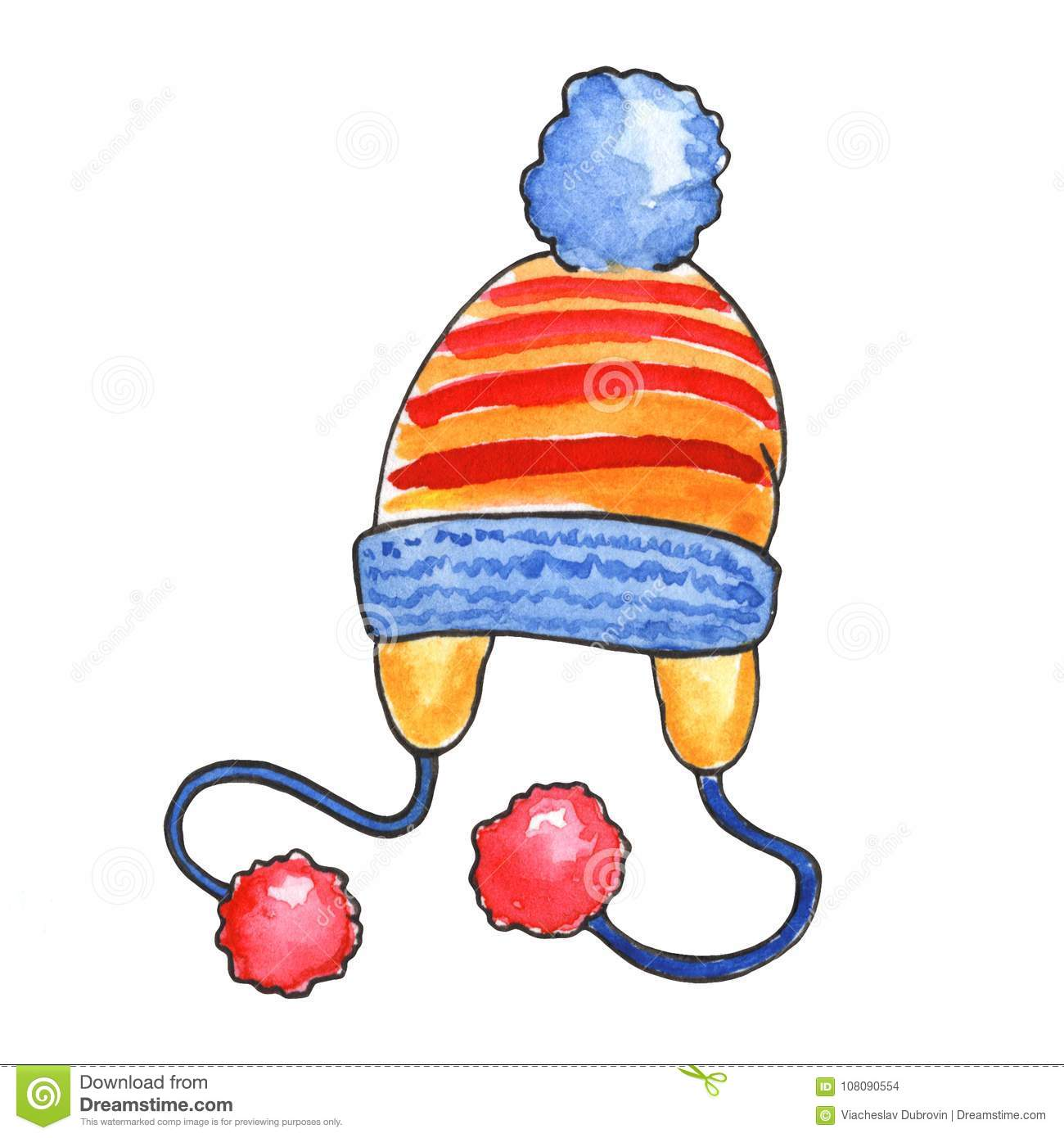 knitted hat watercolor illustration on white background warm winter rh dreamstime com winter clothing clipart Winter Animals Clip Art