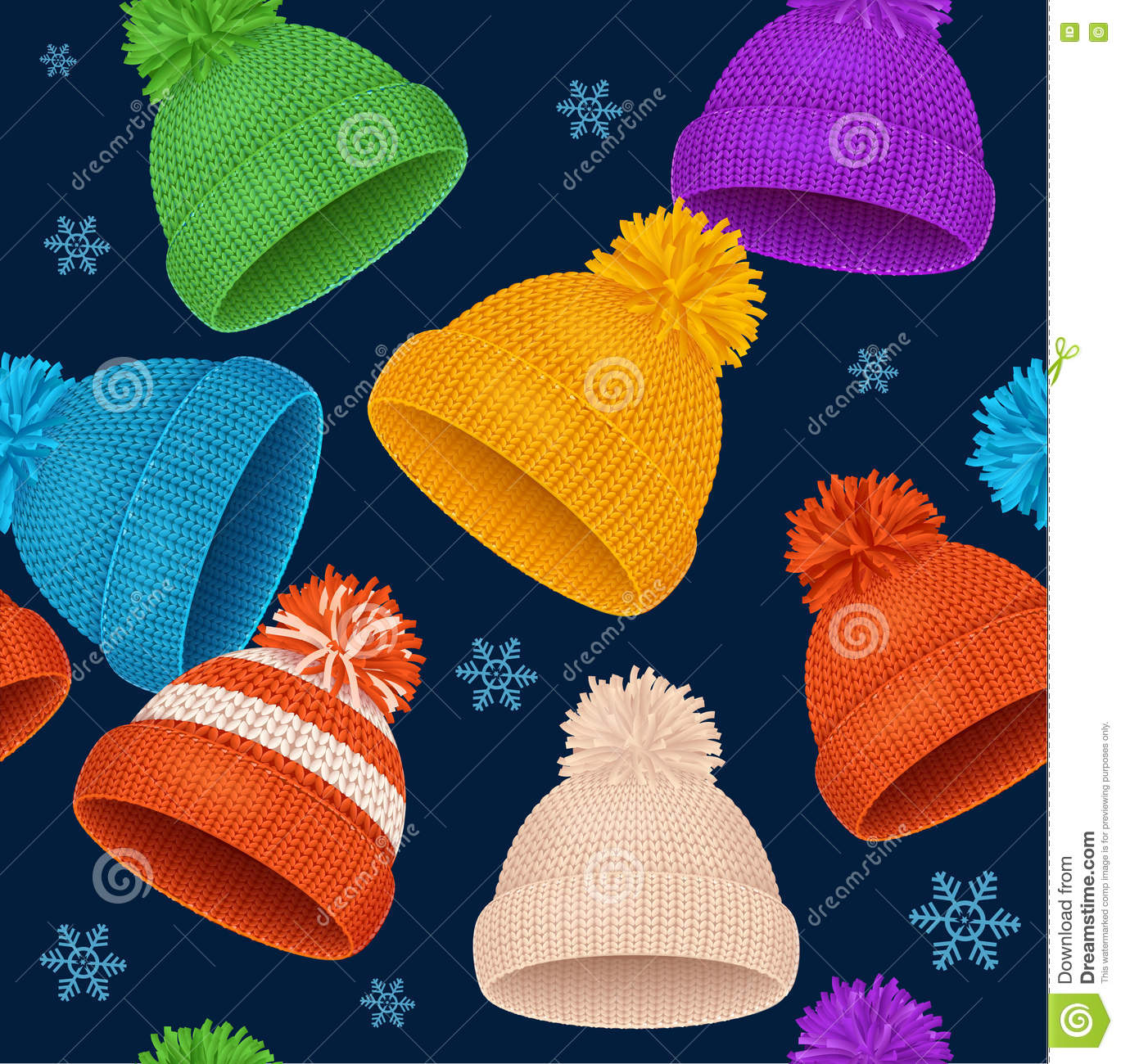 37f048b41cabd Knitted Hat Winter Background Pattern. Vector Stock Vector ...