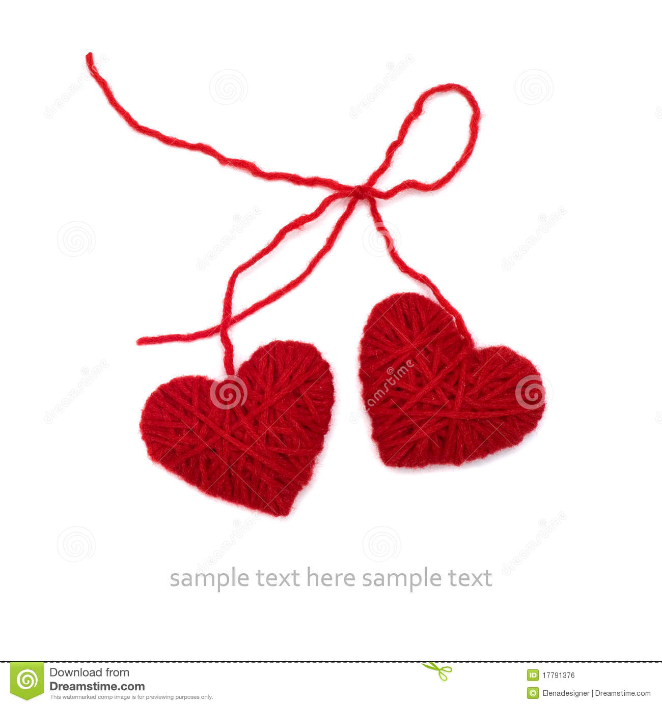 Knitting Hearts Together : Knitted hearts royalty free stock image