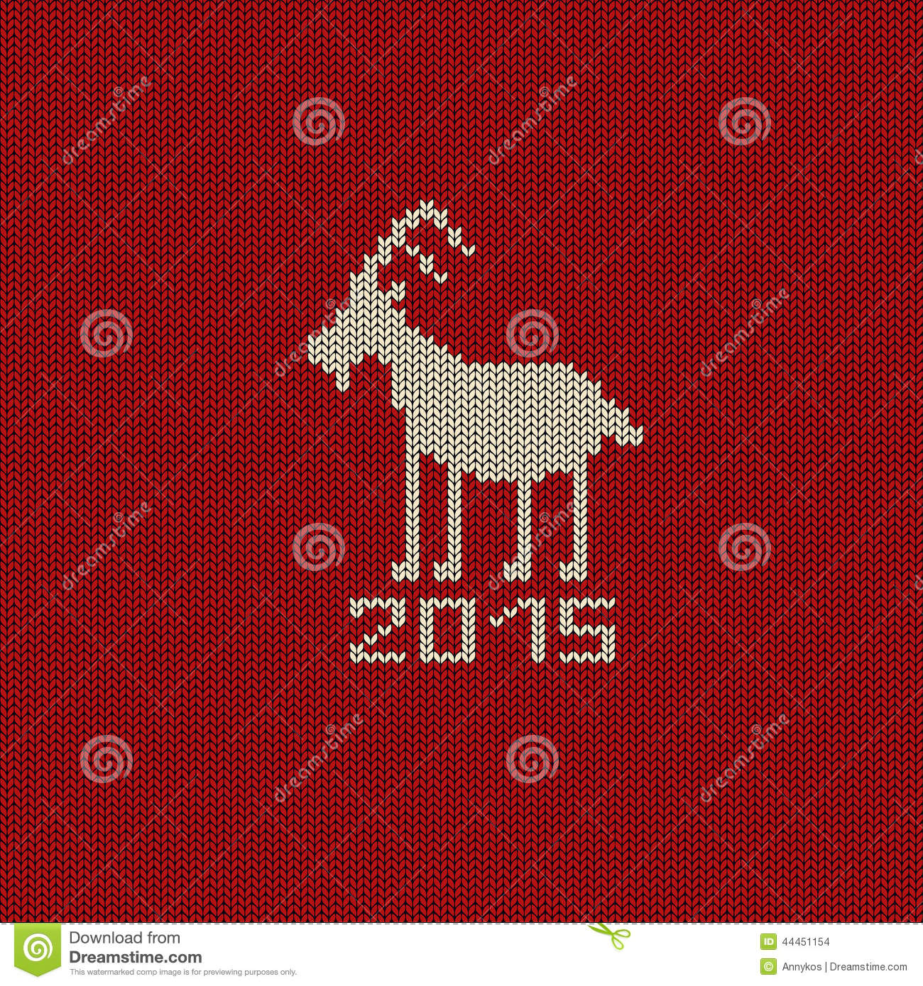 Knitted Pattern Card With Funny Goat Stock Vector - Illustration of ...