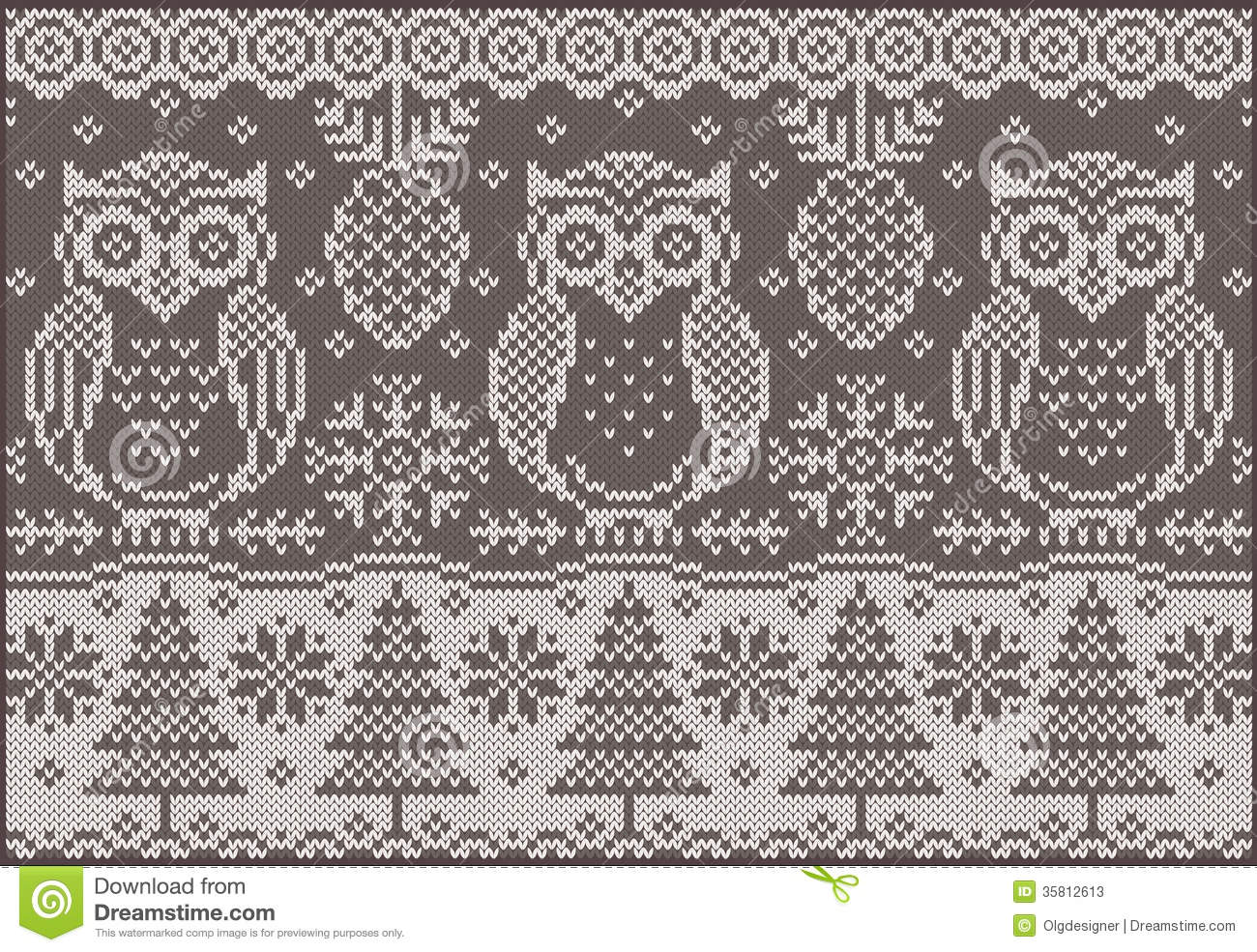 Knitted pattern with owls stock vector. Illustration of decorative ...