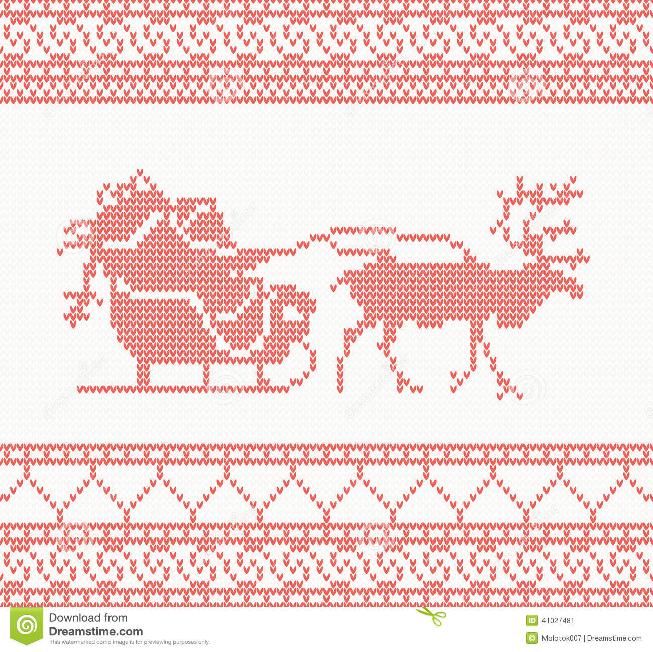 Knitted Pattern With Santa Claus Stock Vector - Image: 41027481