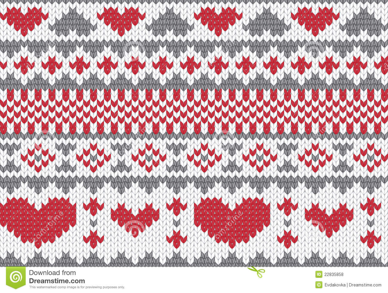 Heart Decoration Knitting Pattern : Knitted Pattern Vector With Hearts Royalty Free Stock ...