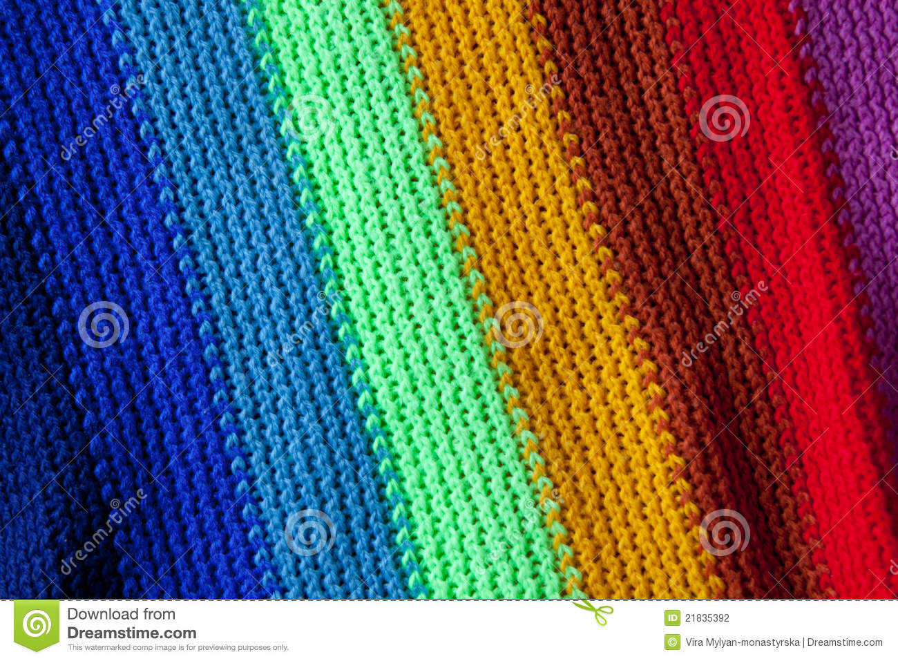 Knitting Pattern For Rainbow Scarf : Knitted Rainbow Scarf Stock Photography - Image: 21835392