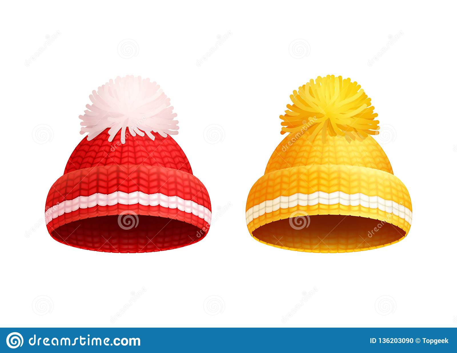 6bb741dc51a Knitted red and yellow hat with white pom-pom vector icons. Warm headwear  items