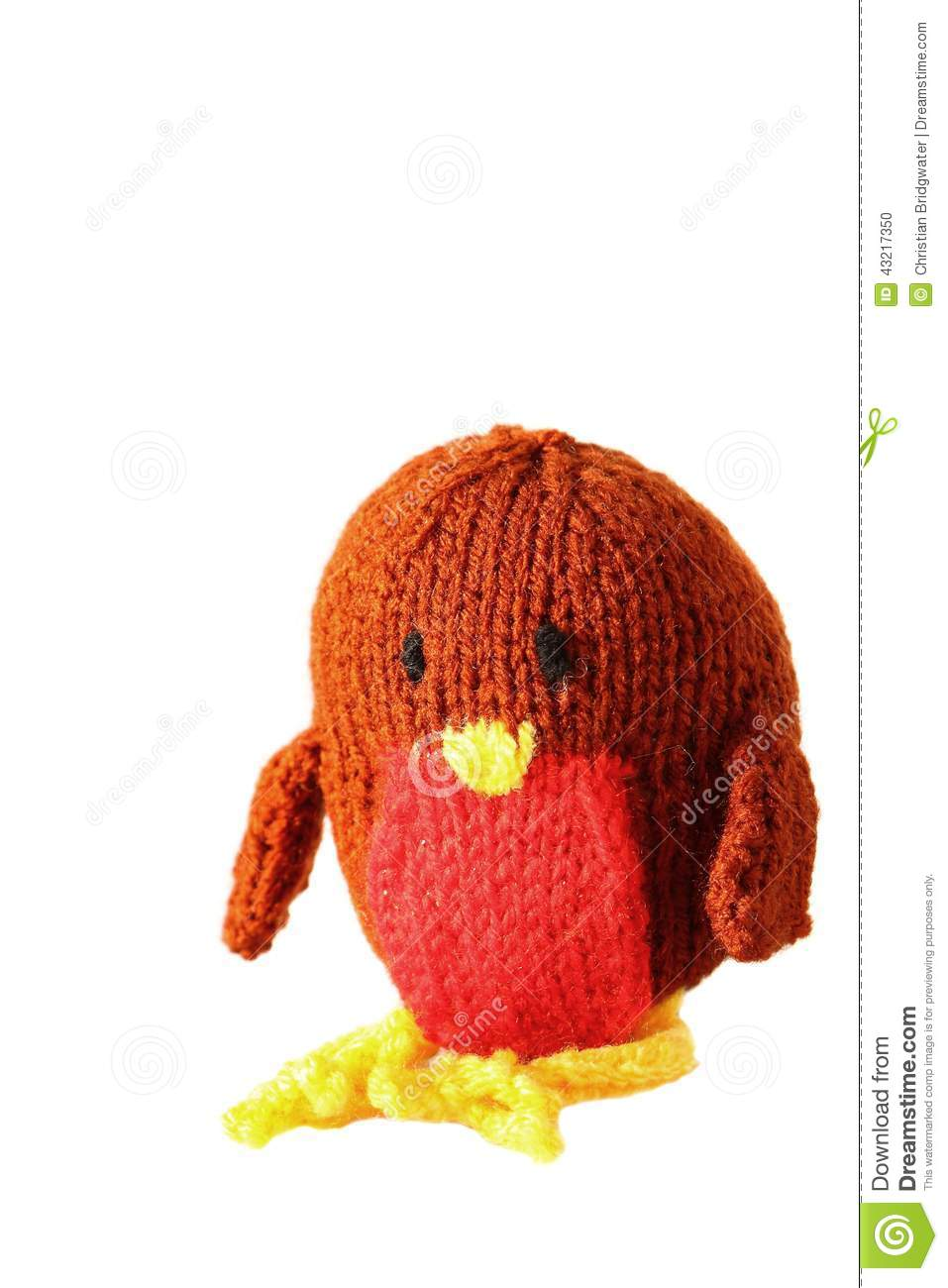 3d Robin With Wool Hat Stock Photography
