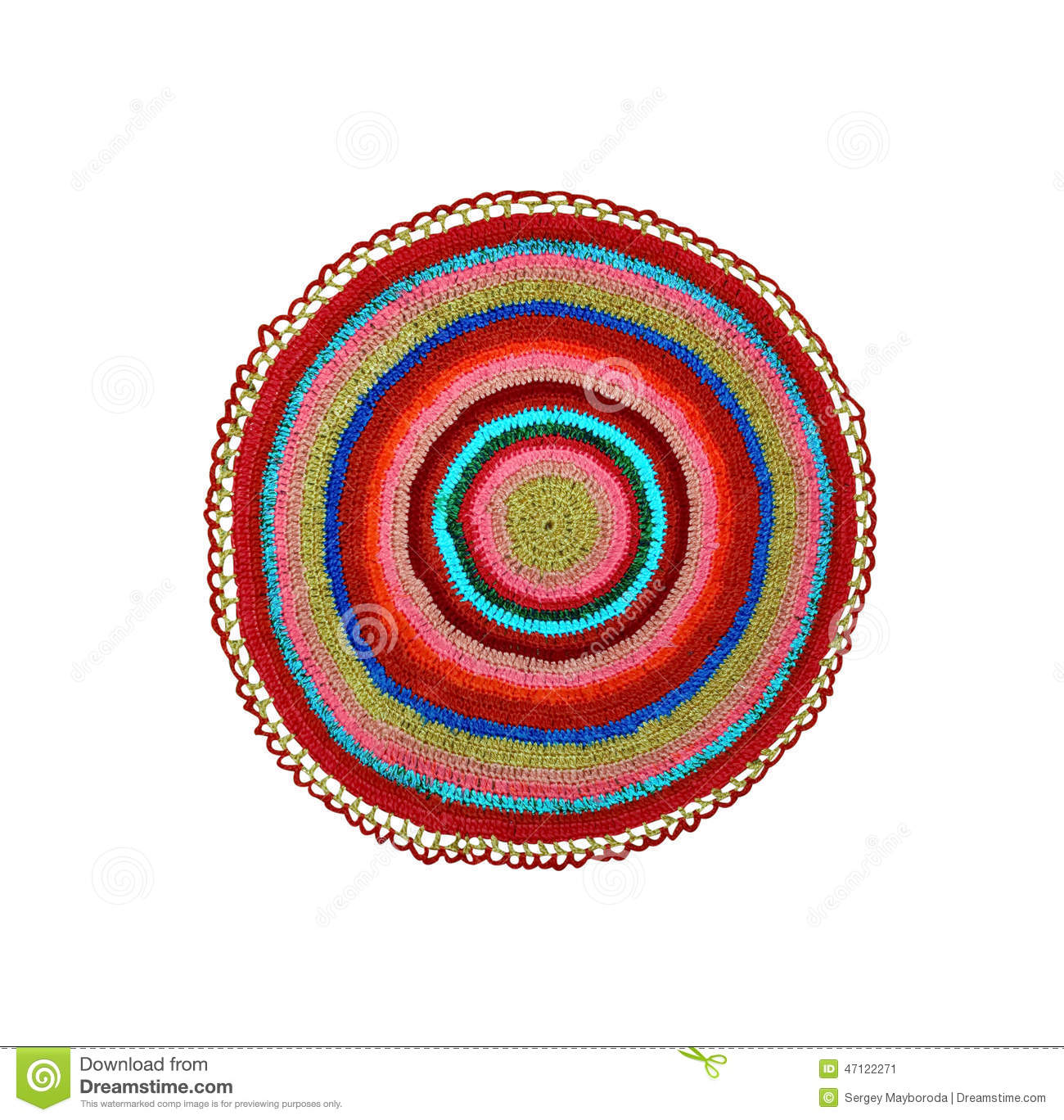 Knitting Pattern For Round Rug : Knitted Rug Round Stock Photo - Image: 47122271