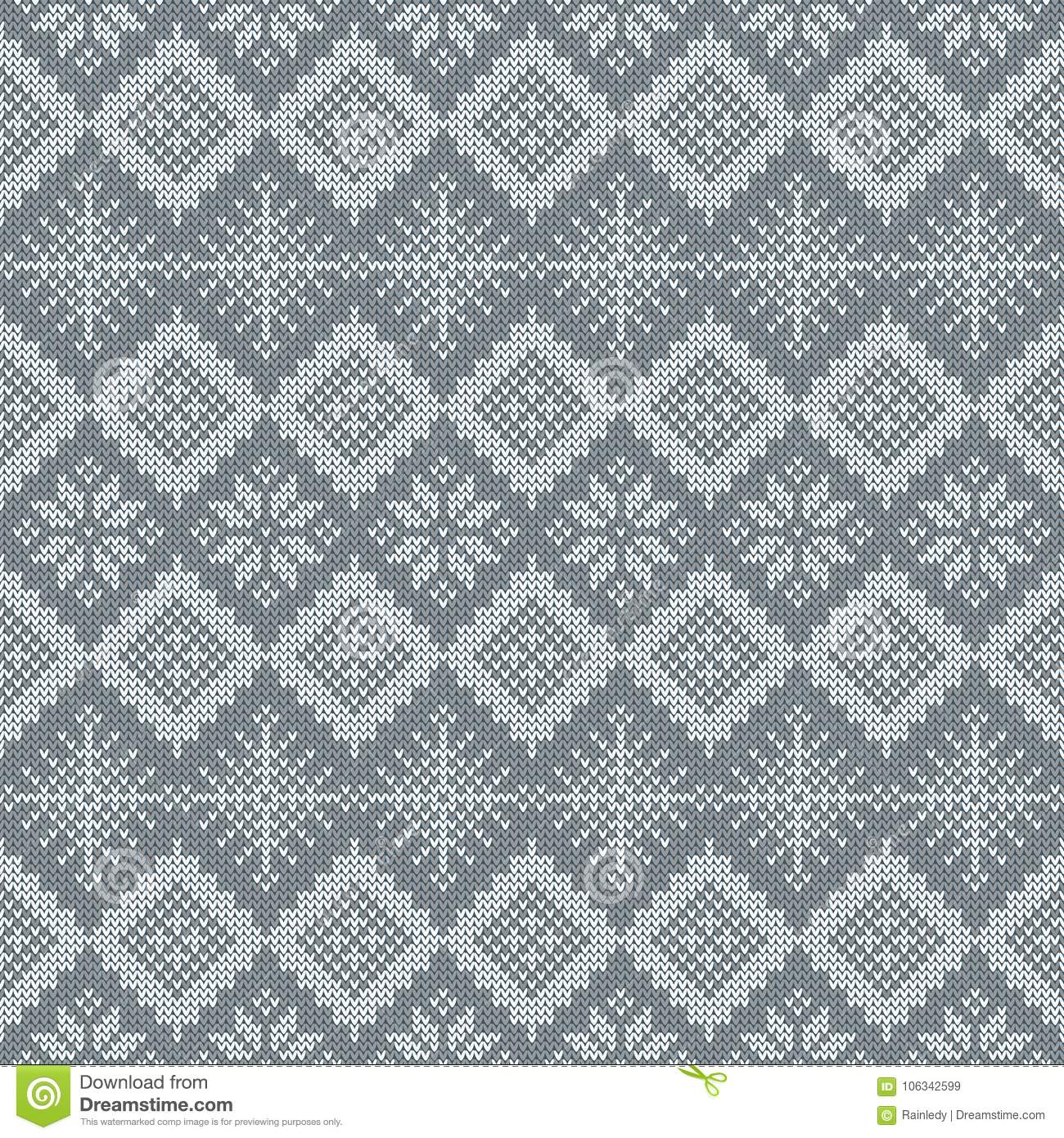 Knitted Scandinavian Pattern With Snowflakes. Vector. Stock Vector ...