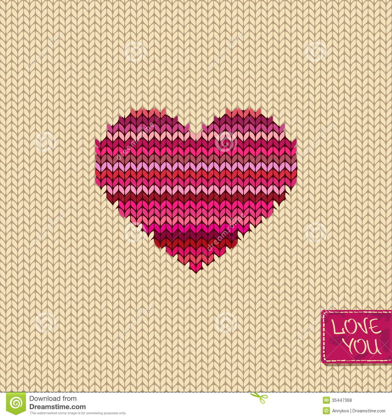 Knitted Seamless Pattern Or Card With Heart Royalty Free ...