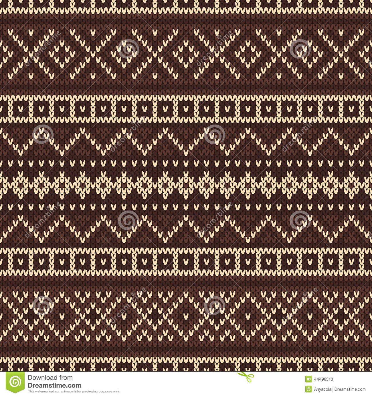 Knitted Seamless Pattern In Fair Isle Style Stock Vector