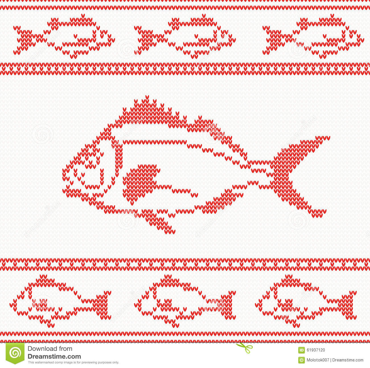 Knitted Seamless Pattern With Fish Stock Vector - Illustration of ...