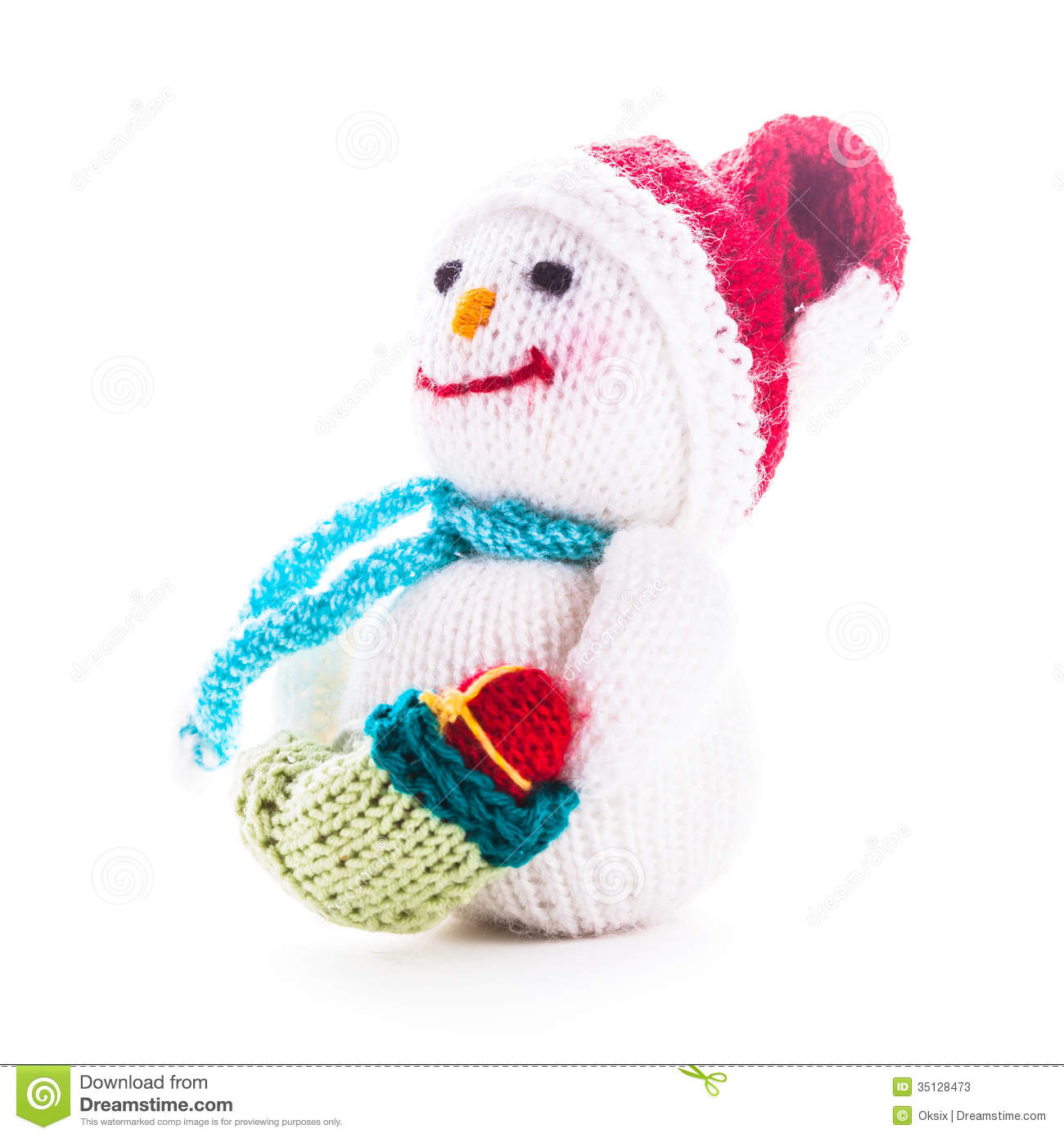 Knitted snowman stock image. Image of christmas, present - 35128473