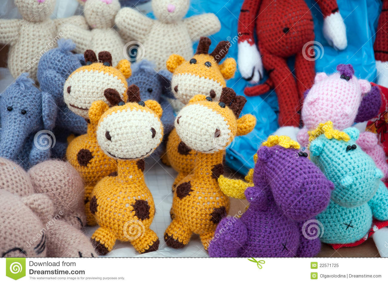 Knitted Soft Toys, Handmade Royalty Free Stock Photo - Image: 22571725