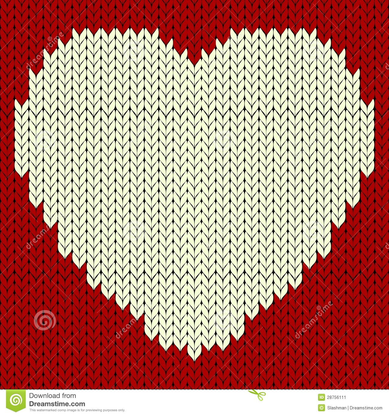Knitting Pattern Vector Download : Knitted Vector Pattern With Red Heart Stock Image - Image ...