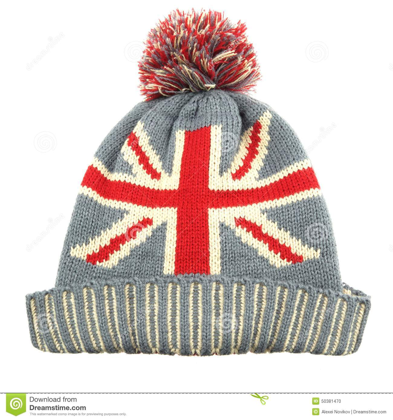 Knitting Pattern For Union Jack Hat : Knitted Wool Hat With Union Jack Flag Isolated On White Stock Photo - Image: ...