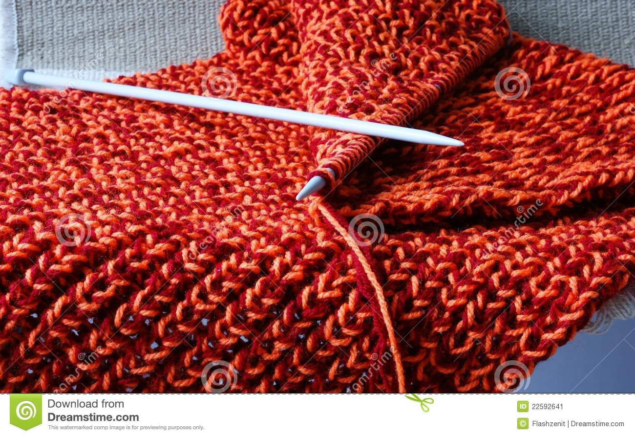 Knitting With Two Colors Carrying Yarn : Knitting stock image