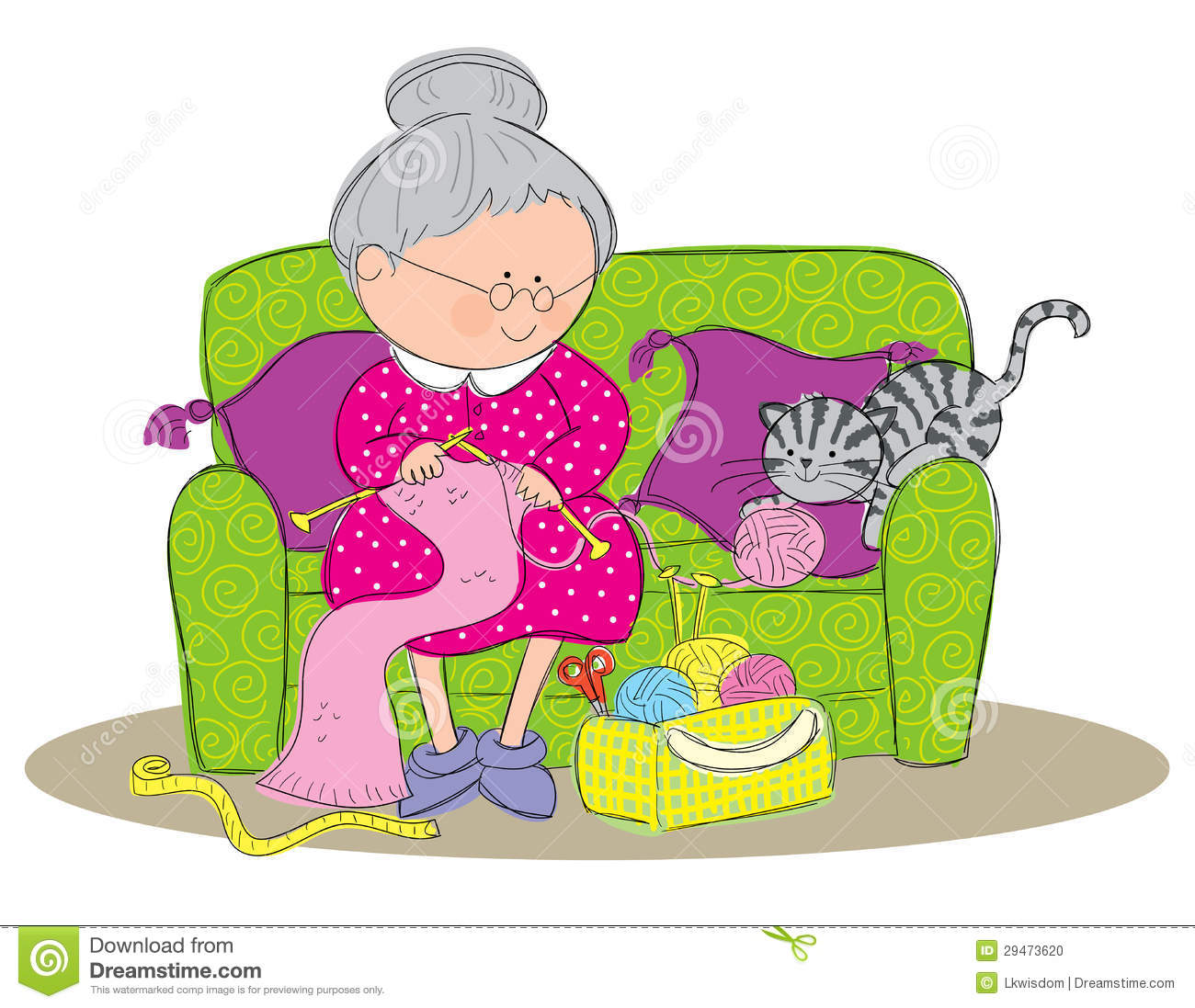 Knitting Granny Clipart : Knitting stock photo image