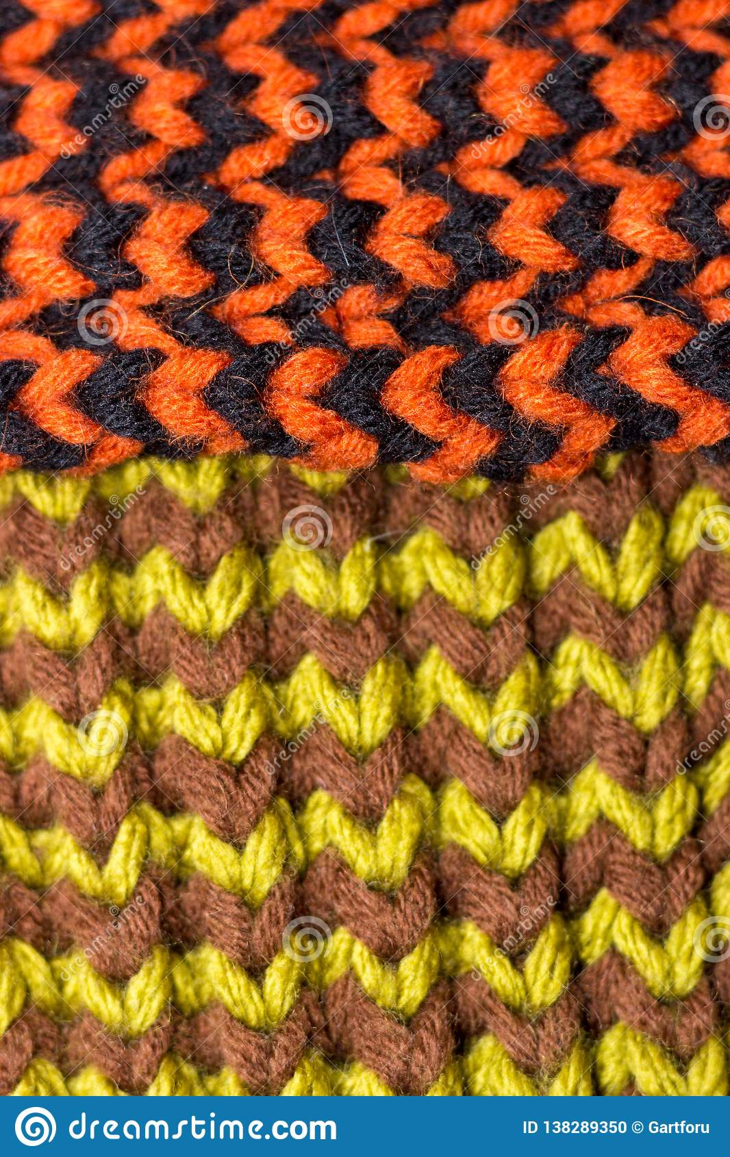 Knitting. Background knitted texture. Bright knitting needles