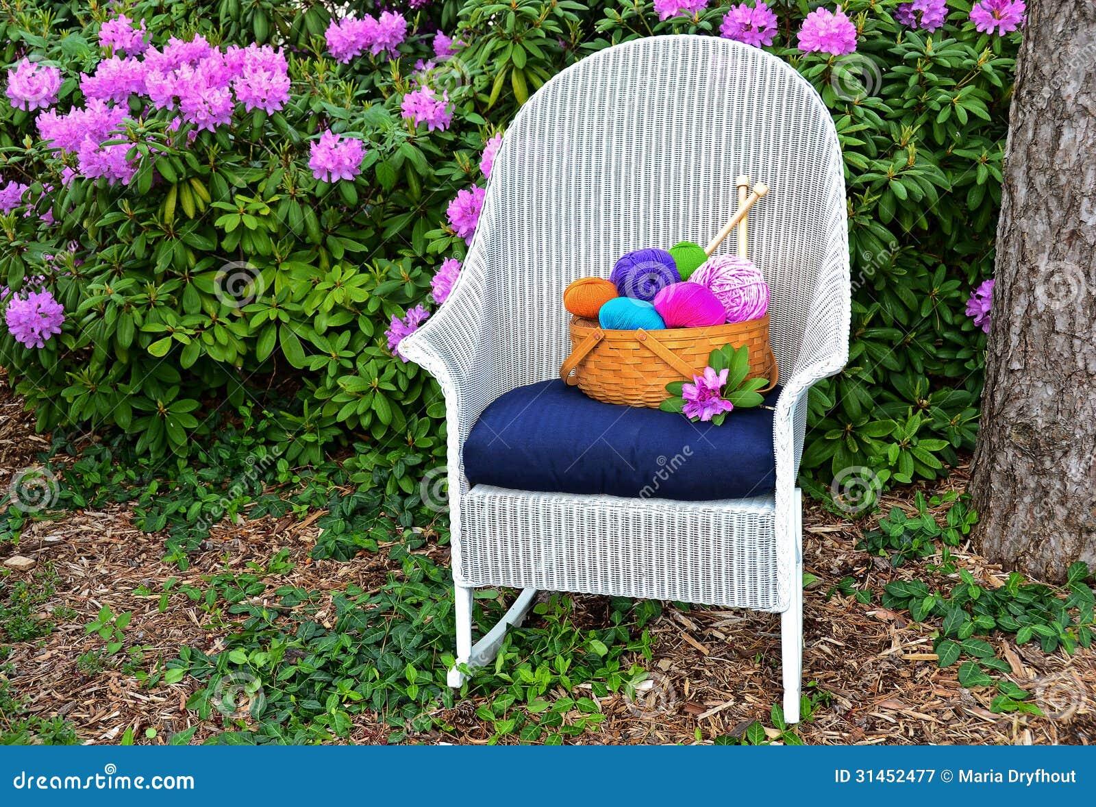 Knitting Basket On Rocking Chair Stock Image Image Of