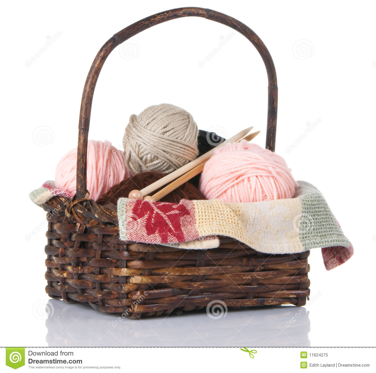 Knitting Basket Yarn : Knitting basket with yarn and needles royalty free stock