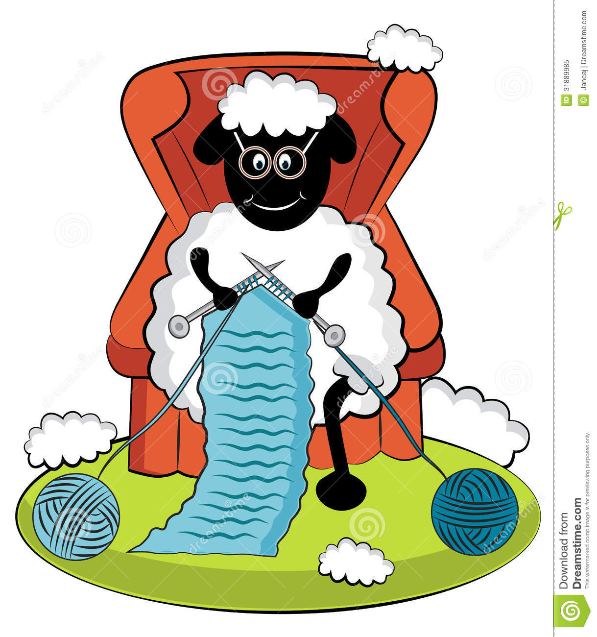 Free Knitting Icons Clipart : Knitting cartoon sheep stock illustration image of clubs