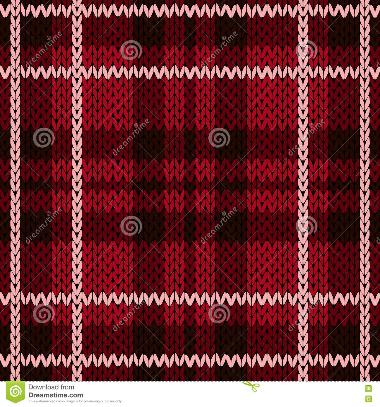 Checkered Knitting Pattern : Knitting Checkered Seamless Pattern Mainly In Red Hues ...