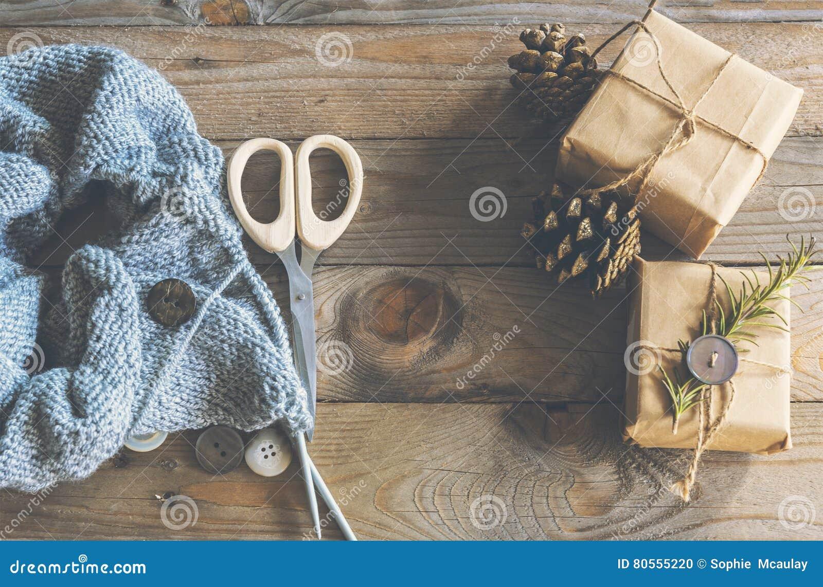 Knitting christmas gifts stock photo. Image of fall, fashion - 80555220